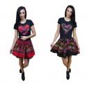 T-shirt damski serce z chusty góralskiej - CZARNA