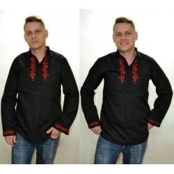 Koszula góralska rozpinana - czerwony haft