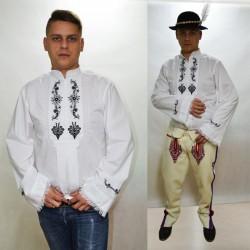 Koszula góralska zapinana - czarny haft