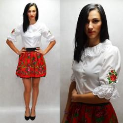 Koszula haftowane róże, kołnierzyk